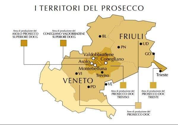 La zona di produzione del Prosecco tra Veneto e Friuli
