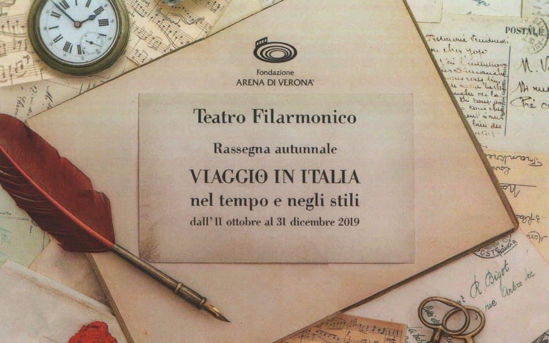"""Teatro Filarmonico di Verona: """"Viaggio in Italia, nel tempo e negli stili"""". Tre concerti sinfonici e tre titoli d'opera dall'11 ottobre al 31 dicembre 2019"""