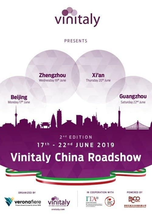 Vinitaly - promozione del vino italiano in Cina - Roadshow B2B - giugno 2019