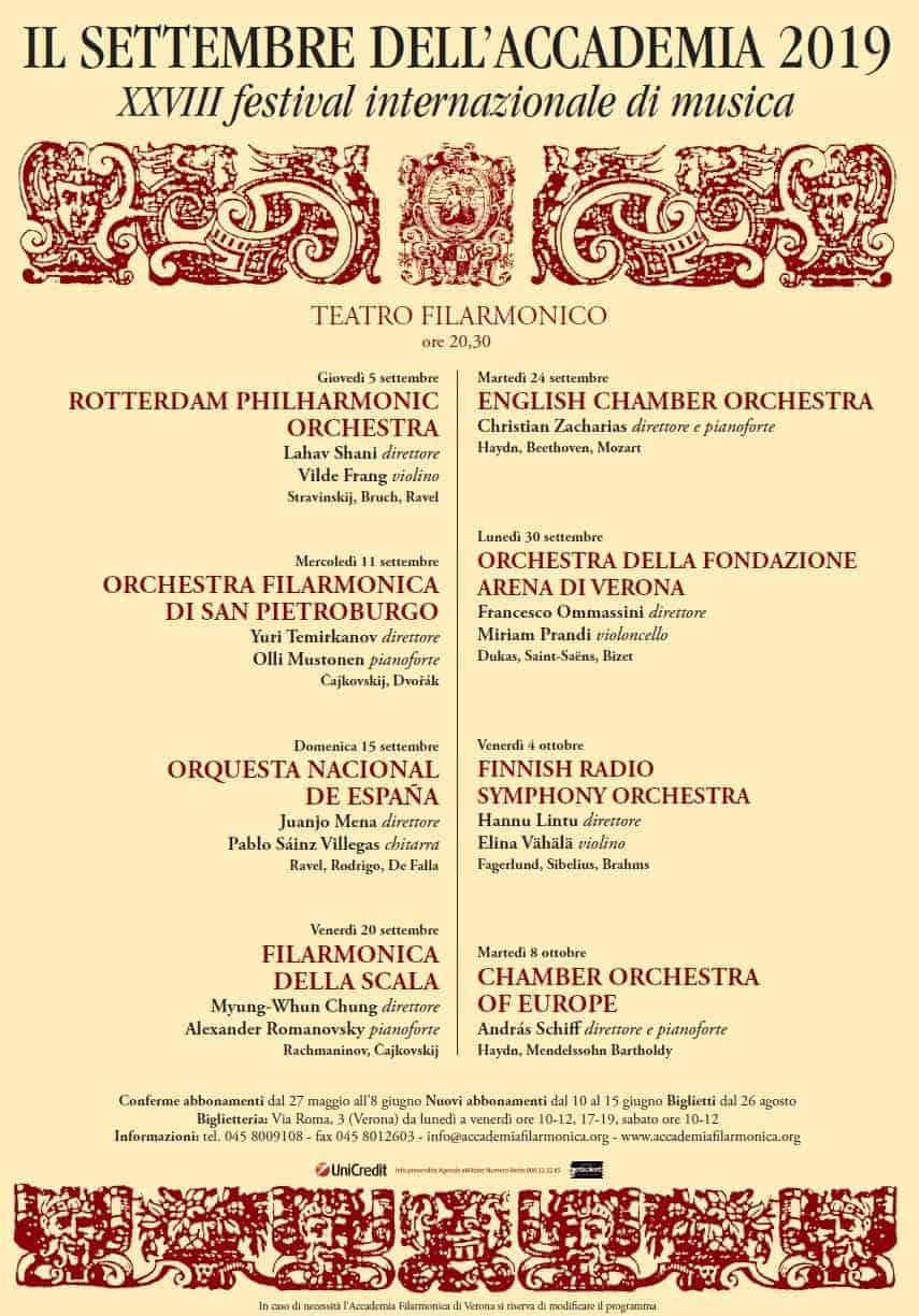 Il Settembre dell'Accademia 2019 - 28° Festival Internazionale di Musica - Accademia Filarmonica - Verona