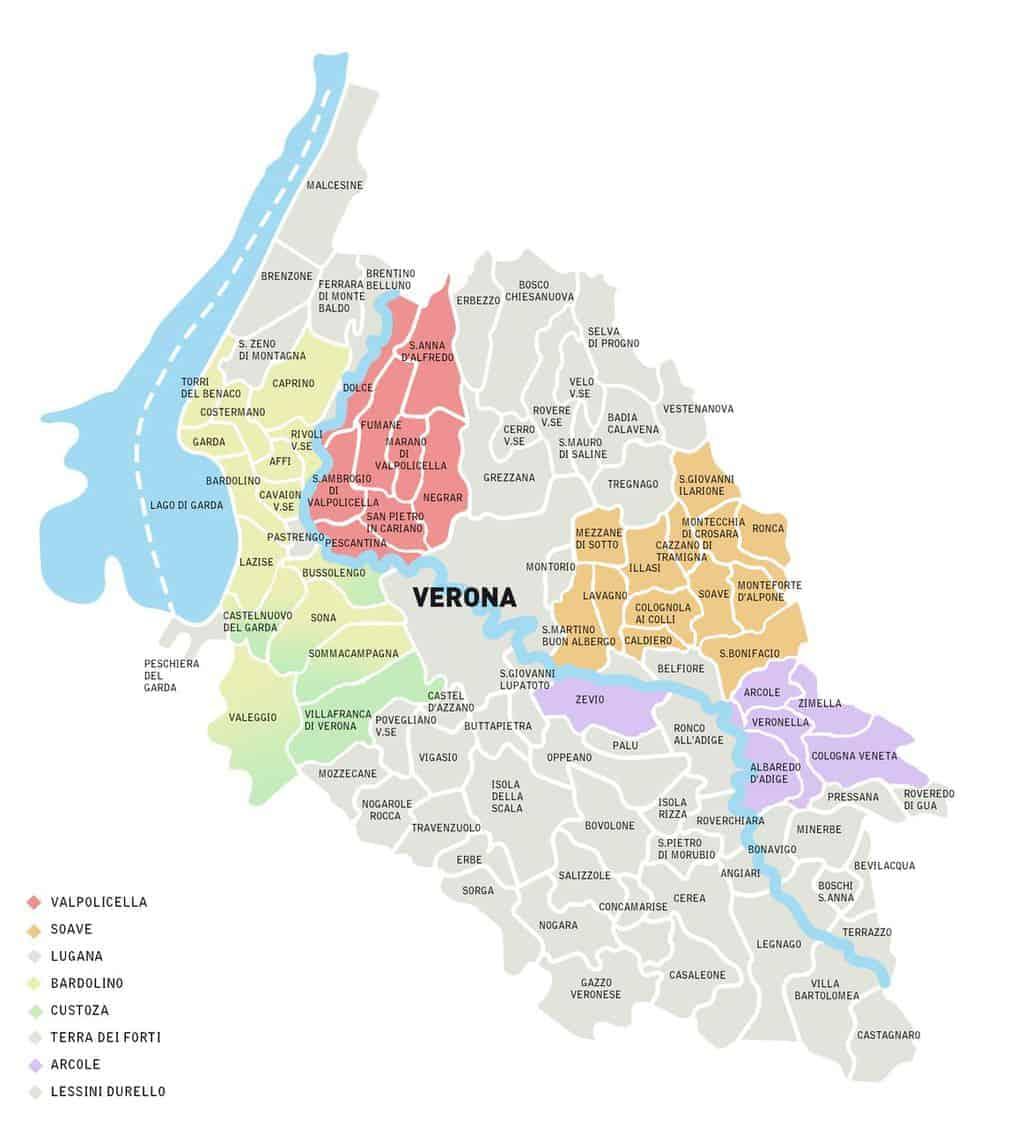 Verona- mappa dei territori dei vini di Verona