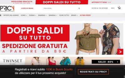Abbigliamento online, con l'outlet Pricy.it i vestiti delle grandi firme a ottimi prezzi. Ma anche calzature, borse, accessori, orologi e gioielli. Scopri il buono sconto per te