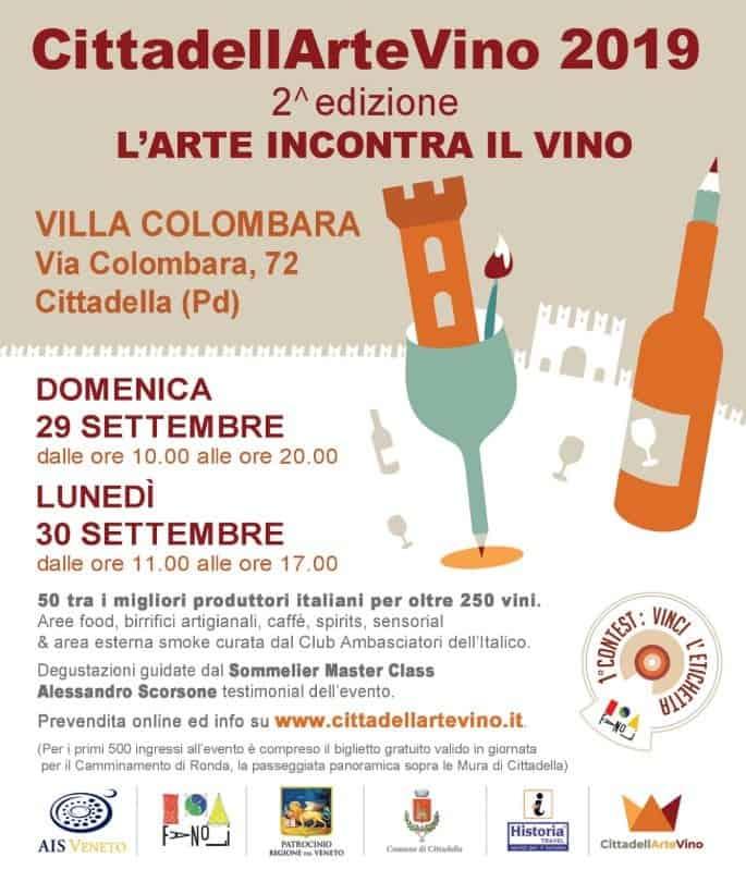 Enoturismo, CittadellArteVino 2019 - Cittadella - Padova - settembre 2019 - programma