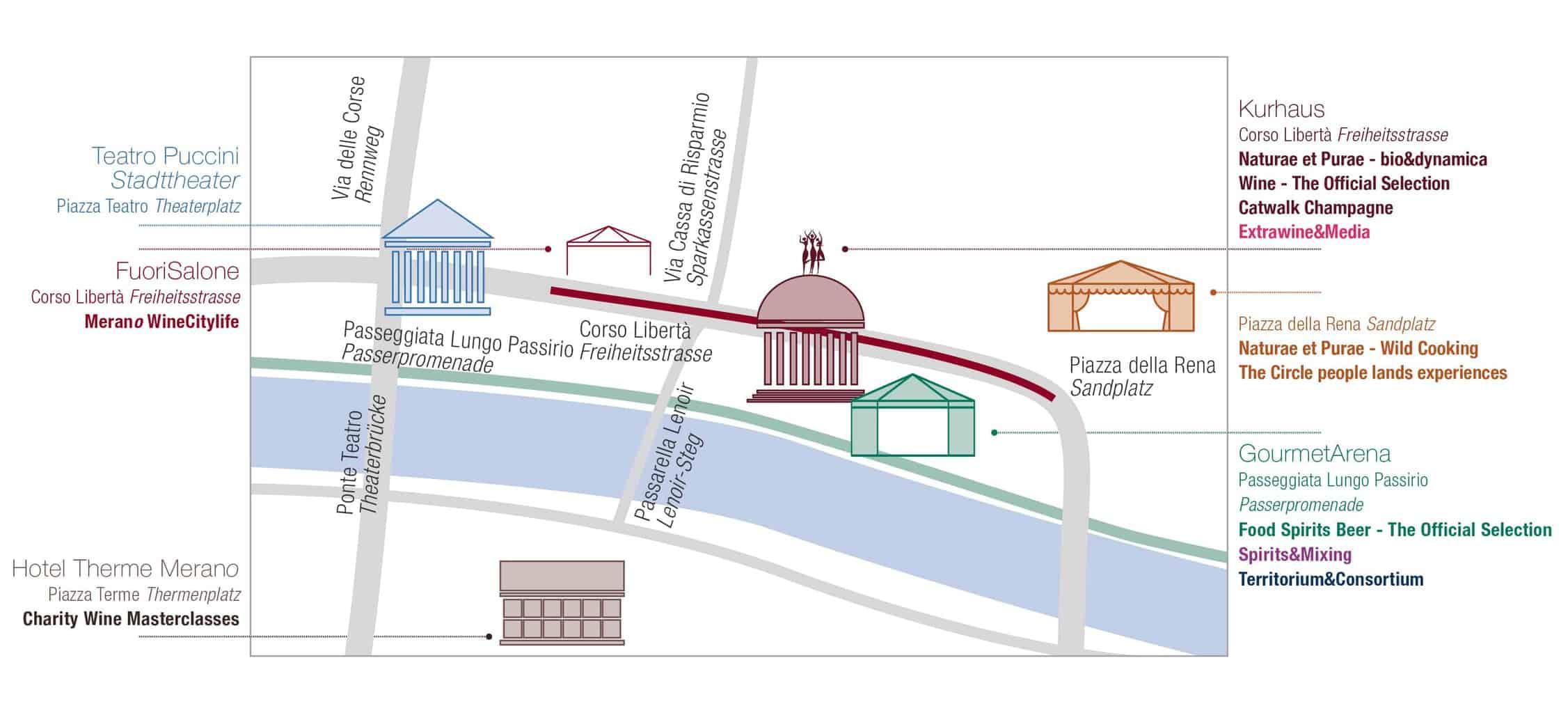 Cartina di Merano per orientarsi al Merano Wine Festival