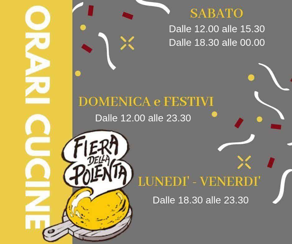 Orari delle cucine della festa della polenta a Vigasio fino al 3 novembre 2019