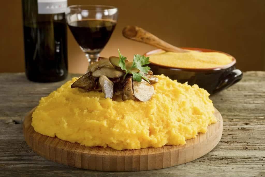 Piatto di polenta e funghi abbinato ad un calice di vino rosso - verona wine love
