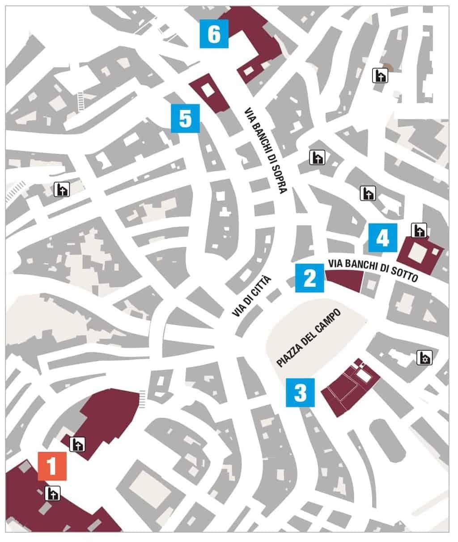 Wine&Siena mappa